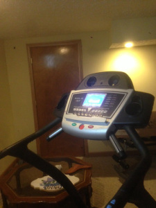 My treadmill in the basement . Regular.