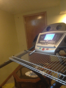 "My Treadmill in the basement  ""pimped"" into a tread desk."
